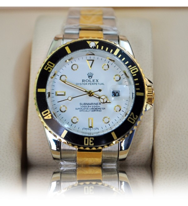 The Oyster Perpetual Submariner White,Gold,Black